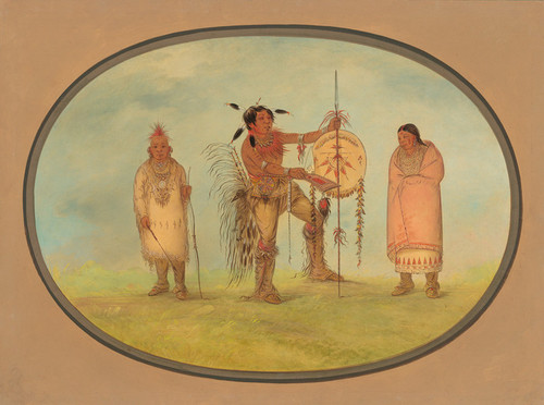 Art Prints of Saukie Warrior His Wife and a Boy by George Catlin