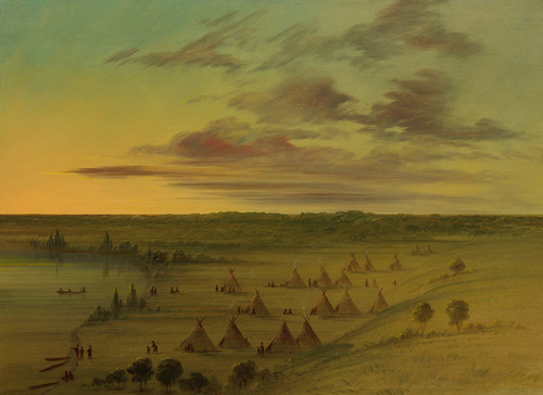 Art Prints of Sioux Village Lac Du Cygne by George Catlin