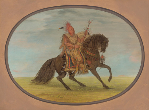 Art Prints of The Running Fox on a Fine Horse Saukie by George Catlin