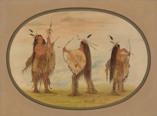 Art Prints of Three Mandan Warrior Armed for War by George Catlin