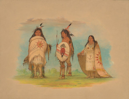 Art Prints of Three Riccarree Indians by George Catlin