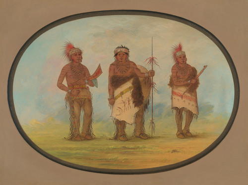 Art Prints of Three Iowa Indians by George Catlin