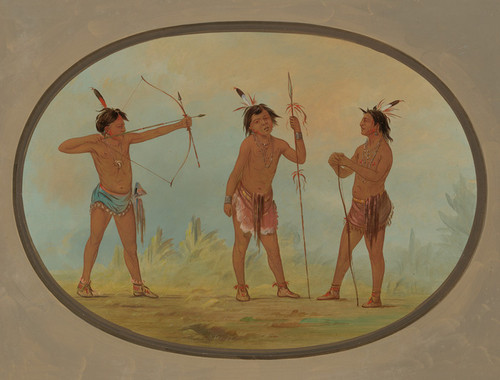 Art Prints of Three Shoshonee Warriors Armed for War by George Catlin