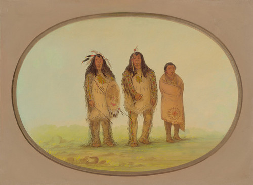 Art Prints of Two Nezperce Warriors and a Boy by George Catlin