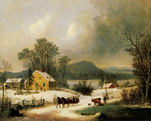 Art Prints of A Sleigh Ride in the Snow by George Henry Durrie