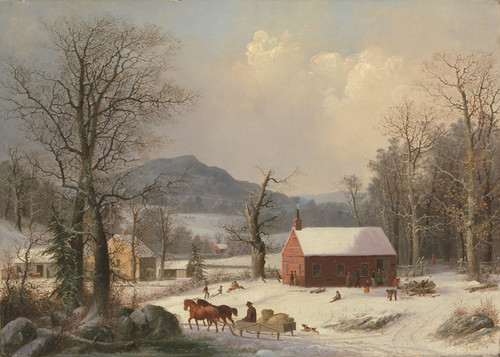 Art Prints of Red School House or Country Scene by George Henry Durrie