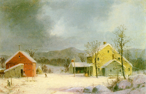 Art Prints of Yellow Farmhouse in Winter by George Henry Durrie