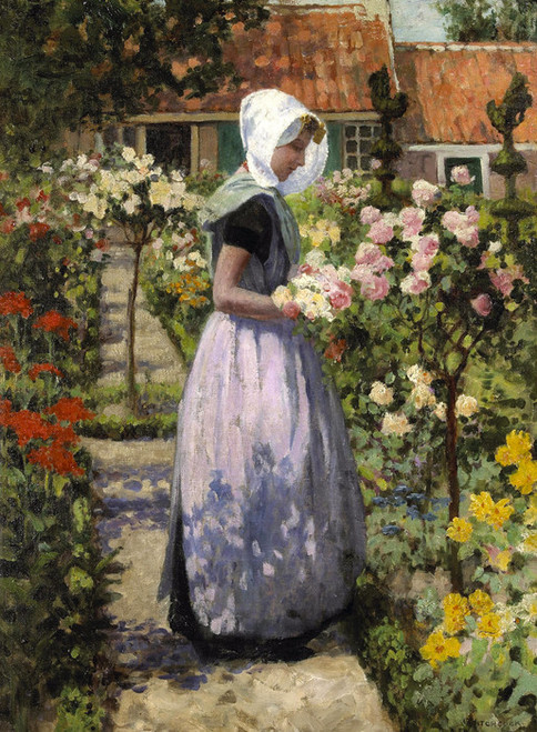 Art Prints of Portrait of a Dutch Woman in a Garden by George Hitchcock