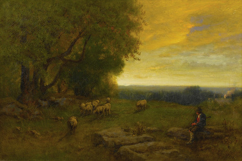Art Prints of Shepherd and Flock at Sunset by George Inness