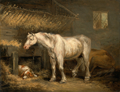Art Prints of Old Horses with a Dog in a Stable by George Morland