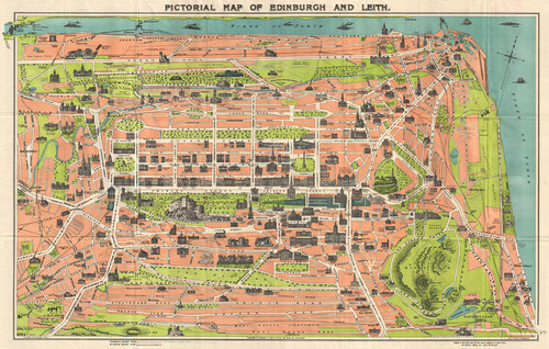 Art Prints of Pictorial Map of Edinburgh and Leith, Scotland 1935 by George Reid