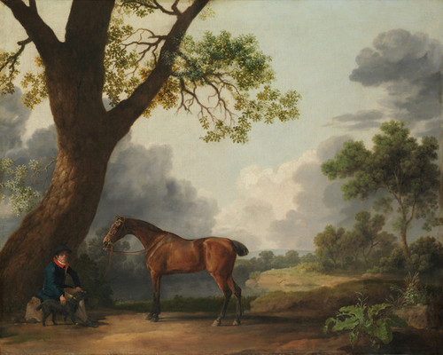 Art Prints of Third Duke of Dorset's Hunter with a Groom and a Dog by George Stubbs