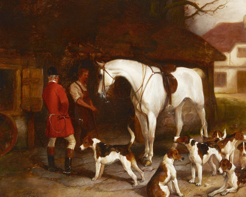 Art Prints of A Huntsman with His Gray Hunter and Hounds by George Wright