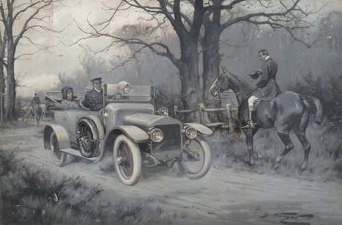 Art Prints of Huntsman Making Way for a Motor Car by George Wright