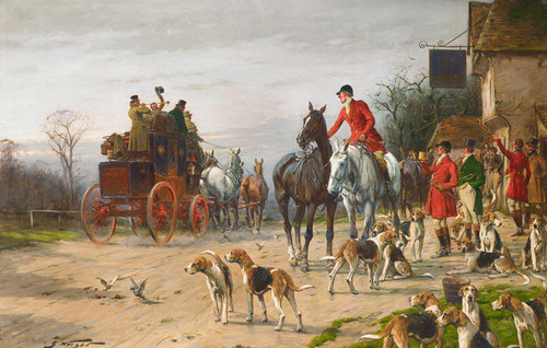 Art Prints of Pausing for Refreshment outside the Fox and Hounds by George Wright