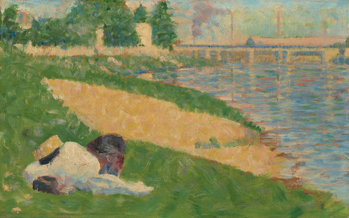 Art Prints of The Seine with Clothing on the Bank by Georges Seurat