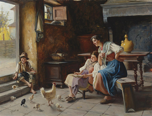 Art Prints of Feeding the Chicks by Giuseppe Magni