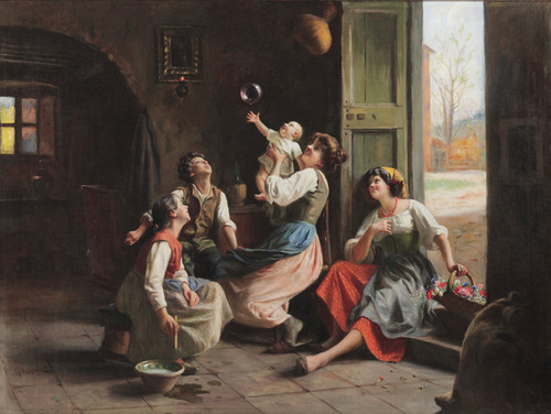 Art Prints of Playing with Bubbles by Giuseppe Magni