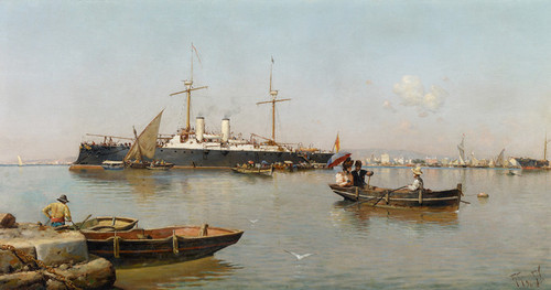 Art Prints of View of Port Malaga by Guillermo Gomez Gil
