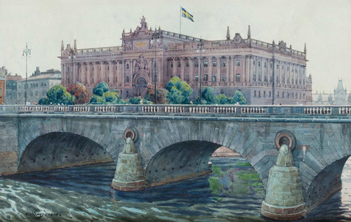 Art Prints of View Towards the Parliament House, Stockholm by Gunnar Widforss