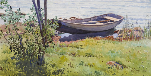 Art Prints of A Boat Along the Riverside, 1913 by Gunnar Widforss