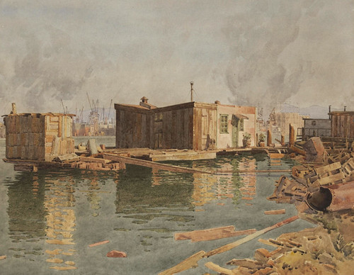 Art Prints of Houseboat with Busy Port Beyond by Gunnar Widforss