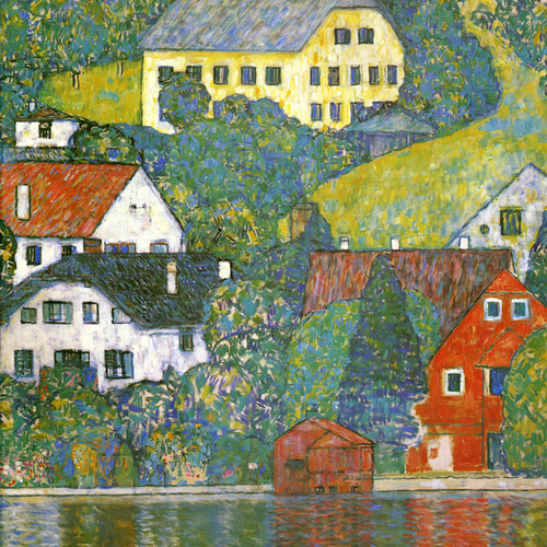 Art Prints of Houses at Unterach on the Attersee 1916 by Gustav Klimt