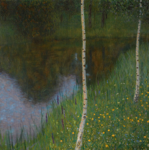 Art Prints of Lakeshore with Birches by Gustav Klimt
