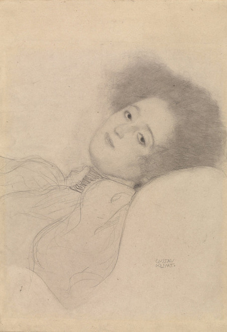 Art Prints of Portrait of a Young Woman Reclining by Gustav Klimt