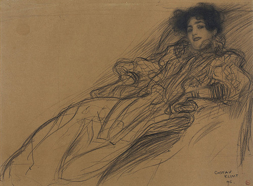 Art Prints of Young Woman in an Armchair by Gustav Klimt