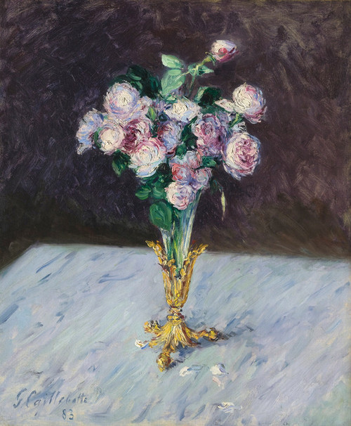 Art Prints of Bouquet of Roses in a Crystal Vase by Gustave Caillebotte