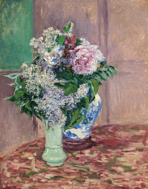 Art Prints of Lilacs and Peonies in Two Vases by Gustave Caillebotte