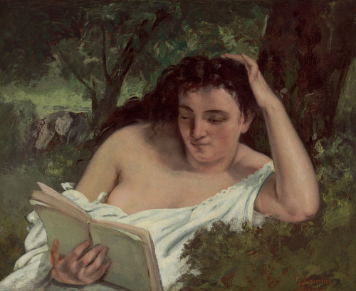 Art Prints of A Young Woman Reading by Gustave Courbet