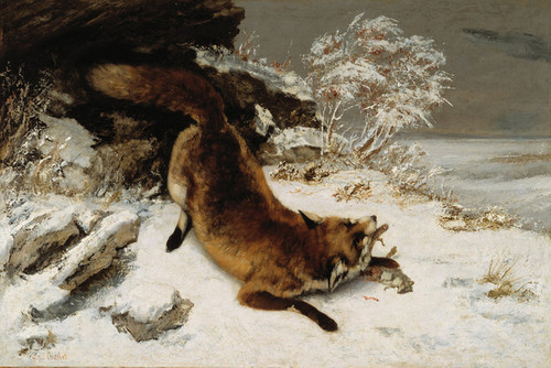 Art Prints of Fox in the Snow by Gustave Courbet