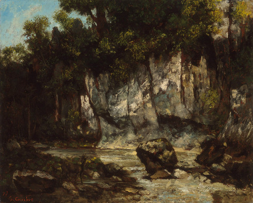 Art Prints of Landscape with Stag by Gustave Courbet