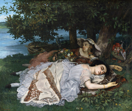 Art Prints of Young Girls on the Banks of the Seine by Gustave Courbet