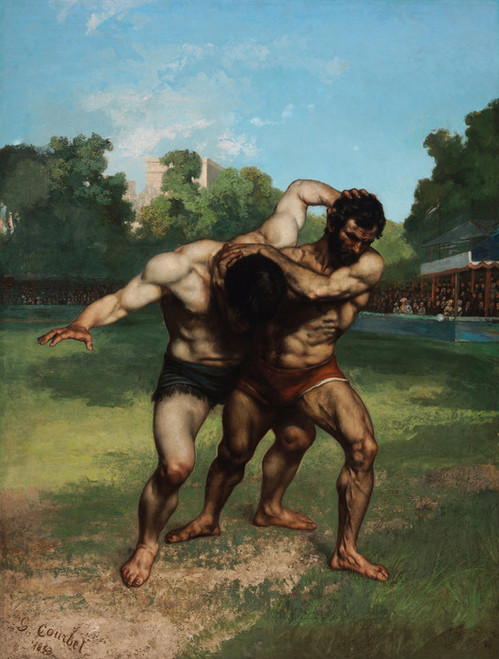 Art Prints of The Wrestlers by Gustave Courbet