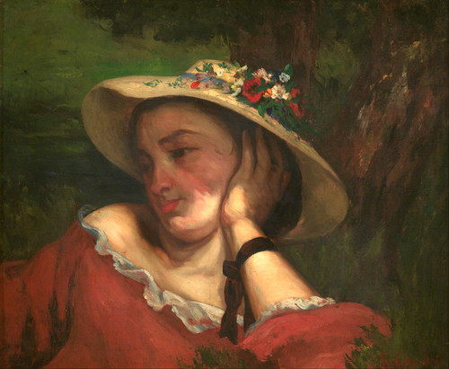 Art Prints of Woman with Flowers on Her Hat by Gustave Courbet