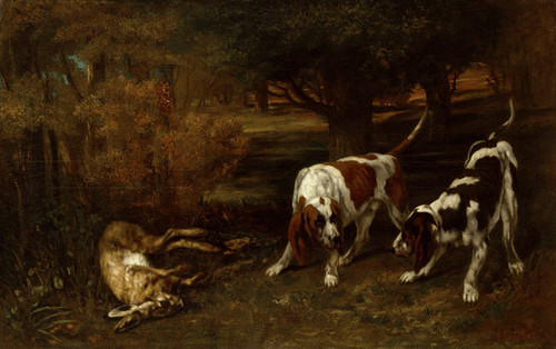 Art Prints of Hunting Dogs with Dead Hare by Gustave Courbet