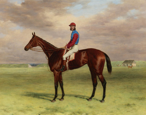 Art Prints of Bay Filly Agility at Newmarket by Harry Hall