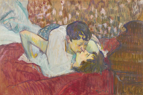 Art Prints of In Bed, the Kiss by Henri de Toulouse-Lautrec