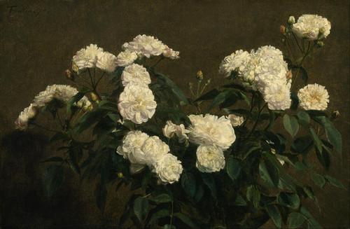 Art Prints of Still Life of White Roses by Henri Fantin-Latour