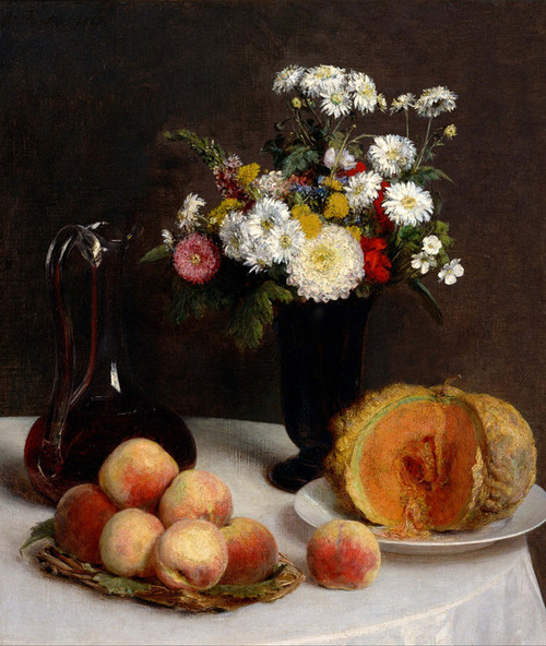 Art Prints of Still Life with Carafe, Flowers and Fruit by Henri Fantin-Latour