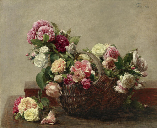 Art Prints of Basket of Roses by Henri Fantin-Latour