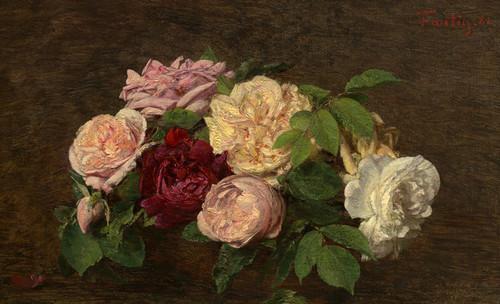 Art Prints of Roses de Nice on a Table by Henri Fantin-Latour