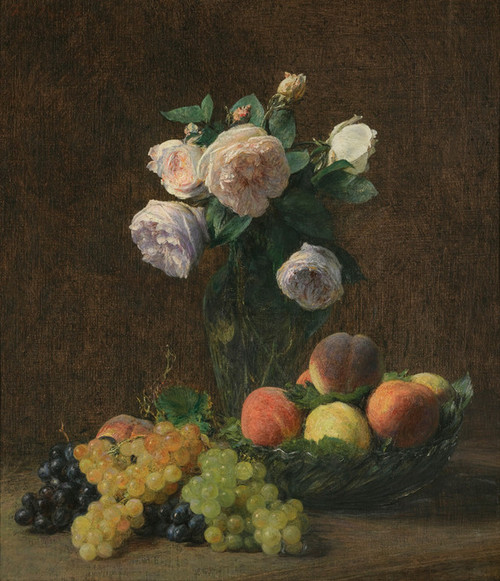 Art Prints of Still Life Vase of Roses, Peaches and Grapes by Henri Fantin-Latour