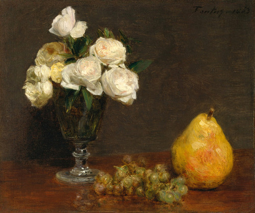 Art Prints of Still Life with Roses and Fruit by Henri Fantin-Latour