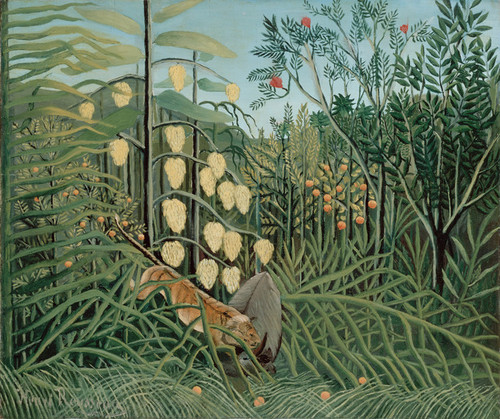 Art Prints of In a Tropical Forest Struggle Between Tiger and Bull by Henri Rousseau