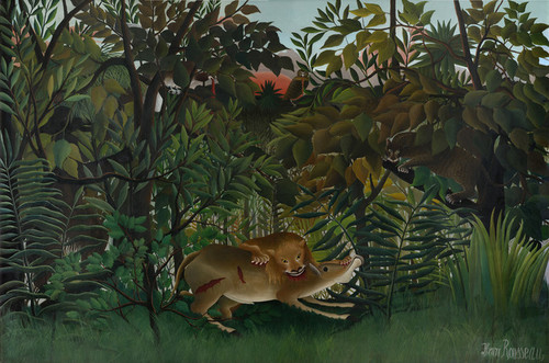 Art Prints of The Hungry Lion Attacking an Antelope by Henri Rousseau