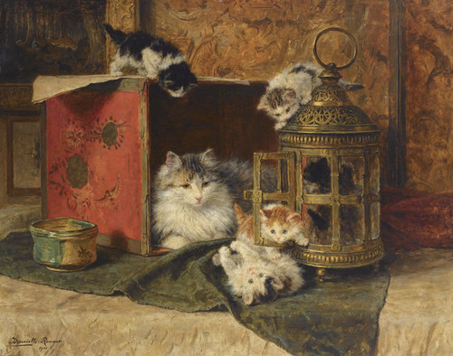 Art Prints of A Mother Cat Watching her Kittens Play by Henriette Ronner Knip